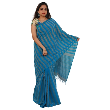 Blue hand woven andhra pradesh handloom saree with blouse
