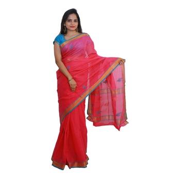 Pink hand woven andhra pradesh handloom saree with blouse