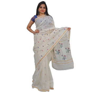 White hand woven andhra pradesh handloom saree with blouse