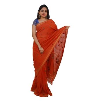 Orange hand woven andhra pradesh handloom saree with blouse