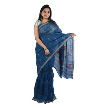 Grey hand woven andhra pradesh handloom saree with blouse