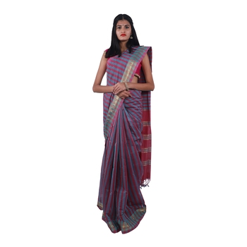 Maroon hand woven andhra pradesh handloom saree with blouse