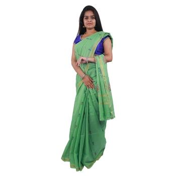 Light green hand woven andhra pradesh handloom saree with blouse