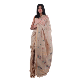 Beige hand woven andhra pradesh handloom saree with blouse