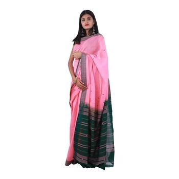 Pink hand woven andhra pradesh handloom saree