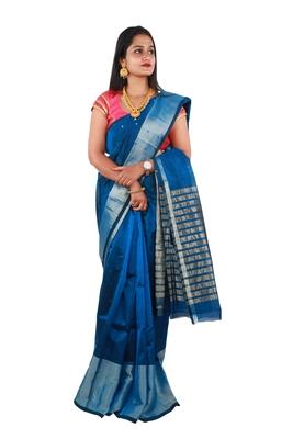 Dark turquoise hand woven andhra pradesh handloom saree with blouse