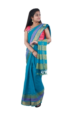 Light green hand woven andhra pradesh handloom saree with blouse