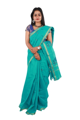 Sea green hand woven andhra pradesh handloom saree with blouse