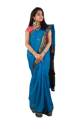 Blue hand woven andhra pradesh handloom saree