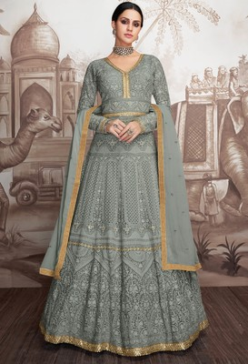 Grey embroidered faux georgette salwar
