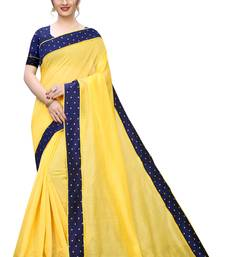 Yellow Chanderi Cotton Navy Blue Contrast Border Bollywood Saree With Blouse Piece.
