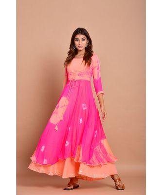 Pink bandhej chiffon long kurtis