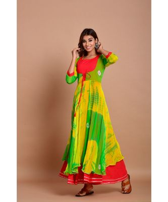 Green bandhej chiffon long kurtis