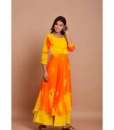 Orange bandhej chiffon long kurtis
