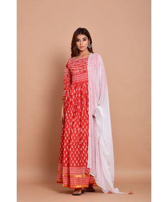 Red bandhej cotton kurta sets