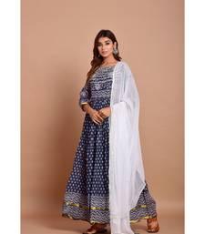 blue bandhej cotton kurta sets