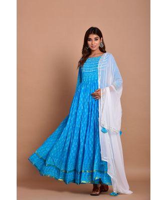turquoise bandhej cotton kurta sets