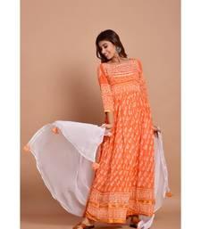 Orange bandhej cotton kurta sets