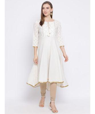 Women White Cotton Embroidered A-line Kurta