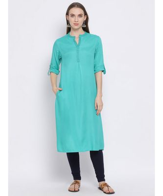 Women Green Cotton Solid A-line Kurta