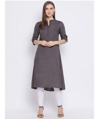 Women Grey Cotton Solid A-line Kurta
