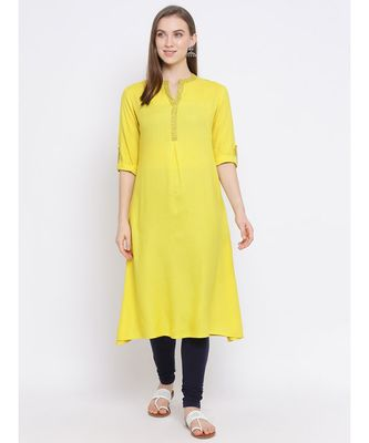 Women Yellow Cotton Solid A-line Kurta
