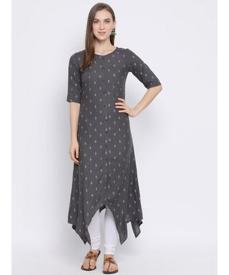 Women Grey Cotton Printed Asymmetric Kurta