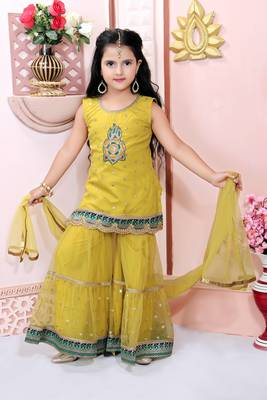 Yellow embroidered net kids salwar suits