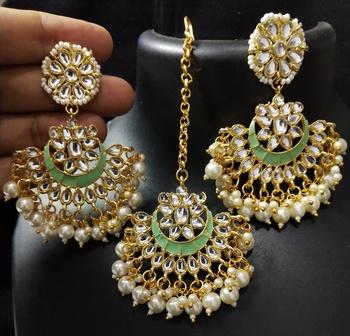Mint Green Meenakari Chandbali Kundan Pearl Earrings Tikka set