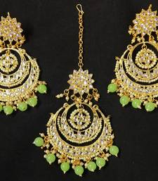 Long Chandbali Mint Green Pearl Kundan Earrings Tikka Set