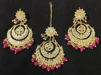 Long Chandbali Ruby Pink Pearl Kundan Earrings Tikka Set