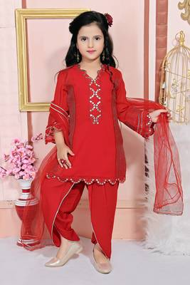 Red embroidered faux georgette kids salwar suits
