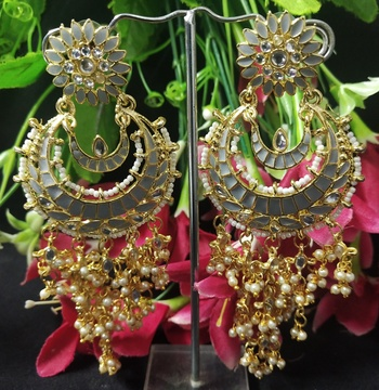 Grey Meenakari Chandbali Long Laheriya Pearl Earrings Set