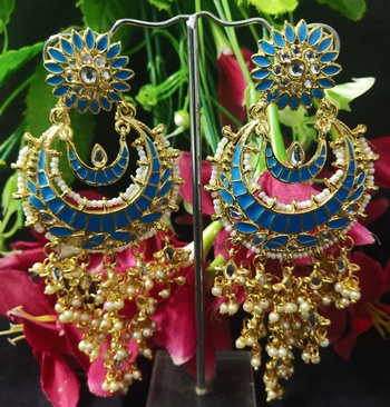 Turquoise Blue Meenakari Chandbali Long Laheriya Pearl Earrings Set