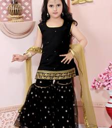 Black embroidered cotton silk kids salwar suits