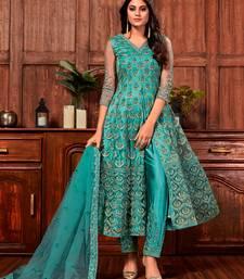 Teal-green embroidered net salwar