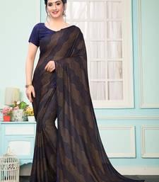 Blue Plain Imported Fabric Designer Saree With Blouse