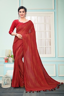 Red Plain Imported Fabric Designer Saree With Blouse
