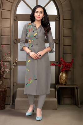 Loom Grey Color with Single Side Multi Color Embroidery Work Straight Kurta for Women