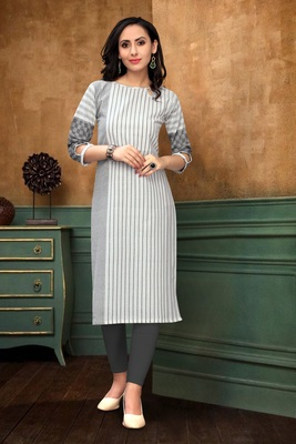 Cotton Line Grey and White Color Boat Neck Straight Kurti for Women