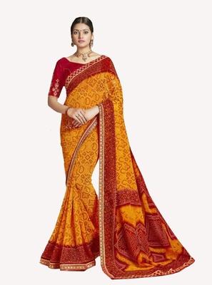 Designer Party Wear Traditional Look Heavy Border Work Bandhej Saree