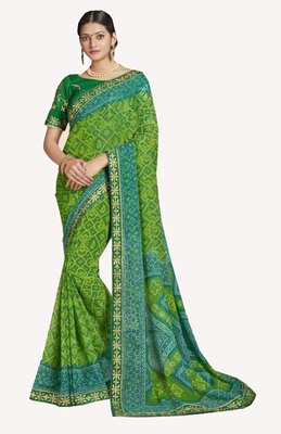 Designer Party Wear Traditional Look Heavy Border Bandhej Saree