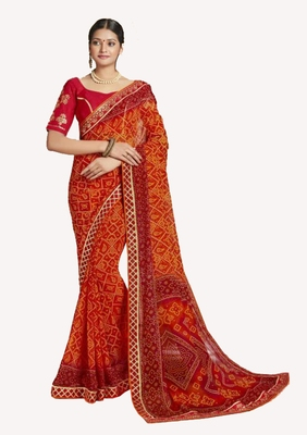 Designer Party Wear Traditional Look Heavy Border Work Bandhej Saree