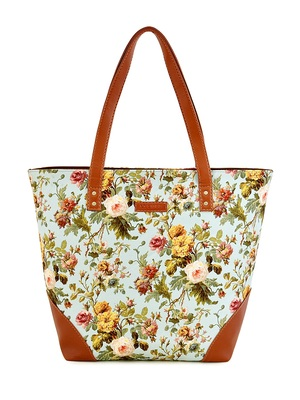 Lychee Bags Canvas Green Floral Printed Womens tote Bags
