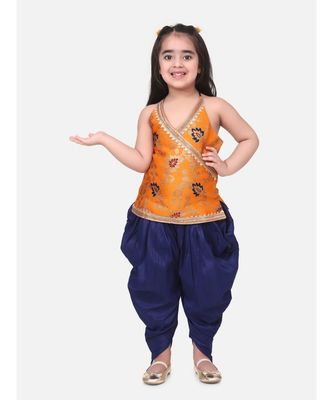 orange Jacquard Halter Neck Top With Dhoti