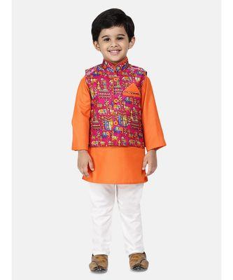 orange Kurta Pajama with Village Art Waistcoat