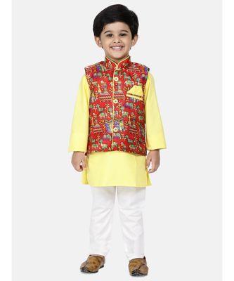 yellow Kurta Pajama with Village Art Waistcoat