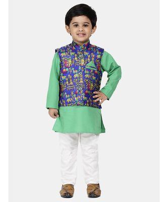 green Kurta Pajama with Village Art Waistcoat