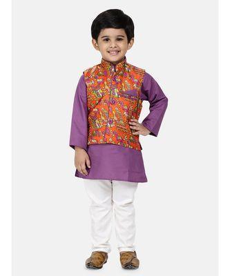 purple Kurta Pajama with Village Art Waistcoat