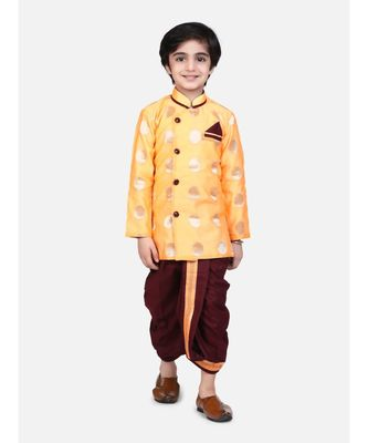 orange Boys Brocade Sherwani Style Dhoti Kurta
